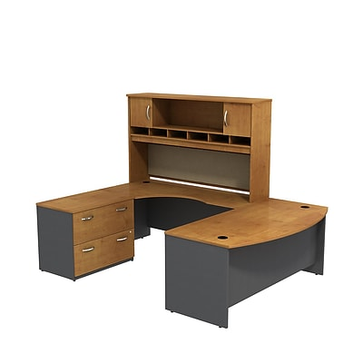 Bush Westfield 72W Bowfront LH U-Station w/2-Door Hutch & Lateral File, Natural Cherry/Graphite Gray