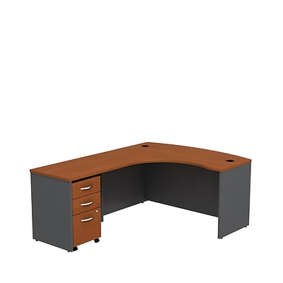 Bush Business Westfield 60W LH L-Bow Desk Shell w/3-Dwr Mobile Pedestal, Autumn Cherry/Graphite Gray