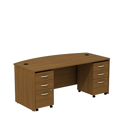Bush Business Westfield 72W Bowfront Shell Desk with (2) 3-Drawer Mobile Pedestals, Cafe Oak