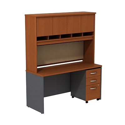 Bush Westfield 60W Desk/Credenza Shell w/ Hutch & 3-Dwr Mobile Pedestal, Autumn Cherry/Graphite Gray