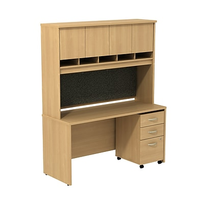 Bush Business Westfield 60W Desk/Credenza Shell with Hutch and 3-Dwr Mobile Pedestal, Danish Oak