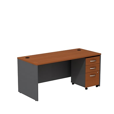Bush Business Westfield 66W Shell Desk with 3-Drawer Mobile Pedestal, Autumn Cherry/Graphite Gray