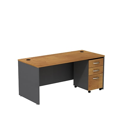 Bush Business Westfield 66W Shell Desk with 3-Drawer Mobile Pedestal, Natural Cherry/Graphite Gray
