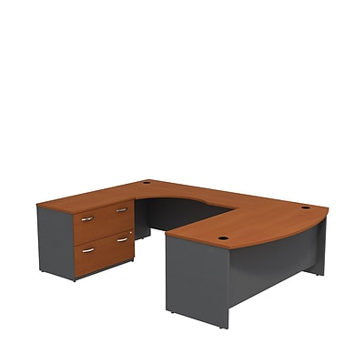 Bush Business Westfield 72W Bowfront LH U-Station w/ 2-Dwr Lateral File, Autumn Cherry/Graphite Gray