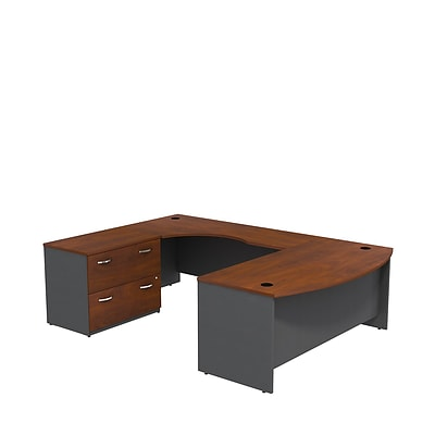 Bush Business Westfield 72W Bowfront LH U-Station w/ 2-Dwr Lateral File, Hansen Cherry/Graphite Gray