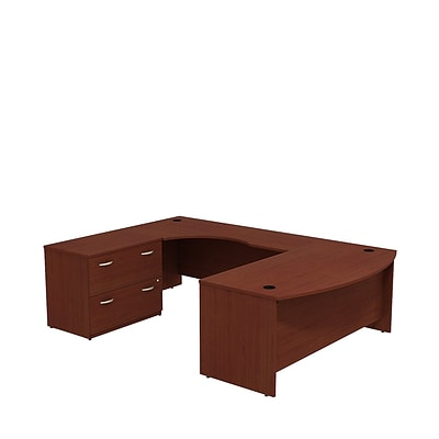 Bush Business Westfield 72W Bowfront LH U-Station with 2-Drawer Lateral File, Cherry Mahogany