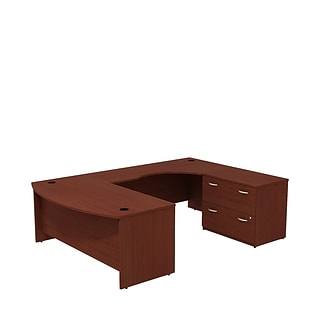Bush Business Westfield 72W Bowfront RH U-Station with 2-Drawer Lateral File, Cherry Mahogany