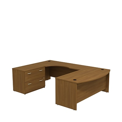 Bush Business Westfield 72W Bowfront LH U-Station with 2-Drawer Lateral File, Cafe Oak