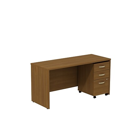 Bush Business Westfield 60W Desk/Credenza Shell with 3-Drawer Mobile Pedestal, Cafe Oak