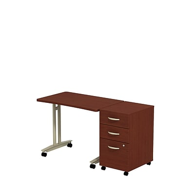Bush Business Westfield Adjustable Height Mobile Table w/ 3-Drawer Mobile Pedestal, Cherry Mahogany
