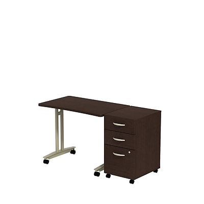 Bush Business Westfield Adjustable Height Mobile Table with 3-Drawer Mobile Pedestal, Mocha Cherry