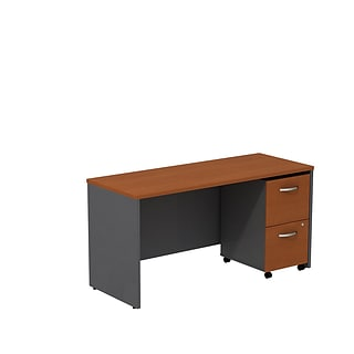 Bush Business Westfield 60W Desk/Credenza Shell w/2-Dwr Mobile Pedestal, Autumn Cherry/Graphite Gray