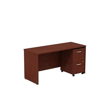 Bush Business Westfield 60W Desk/Credenza Shell with 2-Drawer Mobile Pedestal, Cherry Mahogany