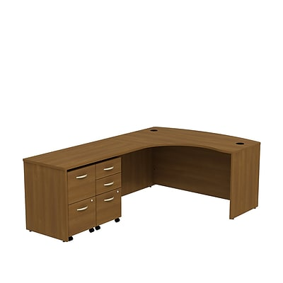 Bush Business Westfield 60W LH Bowfront L-Desk, 2 and 3 Drawer Mobile Pedestals, Cafe Oak