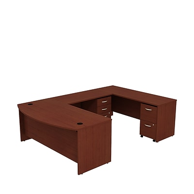 Bush Business Westfield 72W Bowfront U-Station with 2 and 3 Drawer Mobile Pedestals, Cherry Mahogany