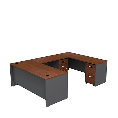 Bush Business Westfield 72W U-Station w/ 2 & 2 Drawer Mobile Pedestals, Hansen Cherry/Graphite Gray