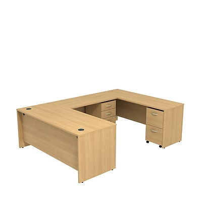 Bush Business Westfield 72W U-Station with 2 and 2 Drawer Mobile Pedestals, Danish Oak