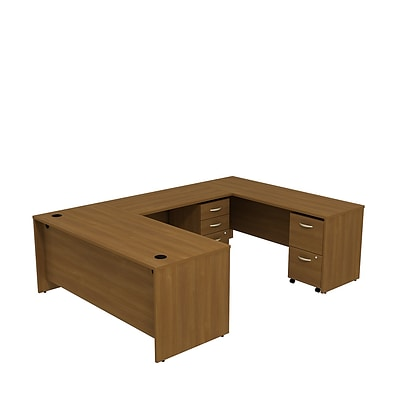Bush Business Westfield 72W U-Station with 2 and 2 Drawer Mobile Pedestals, Cafe Oak