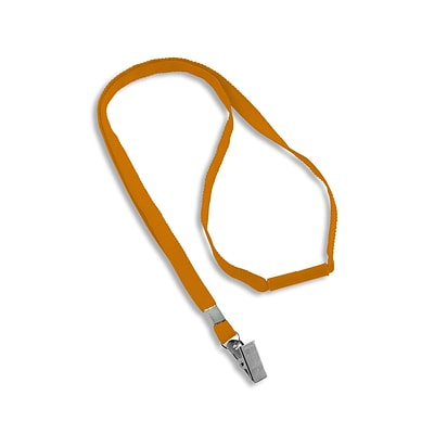 IDville 1343500ORC31 36 Blank Flat Woven Breakaway Lanyards with Bulldog Clip, Orange, 25/Pack