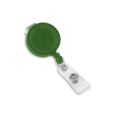 IDville 1345198GR31 Round Swivel Clip Translucent Badge Reels, Green 25/Pack