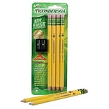 Dixon Tri-Conderoga® My First Ticonderoga® Woodcase Pencils with Bonus Pencil Sharpener, #2 Soft, Yellow Barrel, 4/Pack