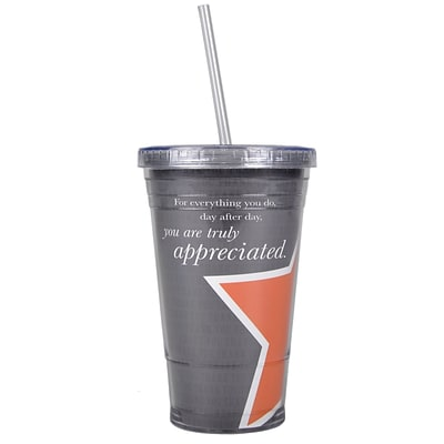 Baudville® Twist Top Tumbler W/ Straw, You Are Truly Appreciated
