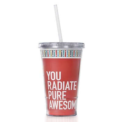Baudville® Twist Top Tumbler W/ Straw, Exclamations - Radiate Pure Awesome