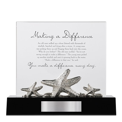 Baudville® Crystal Character Trophy W/ Metal Figurine, Starfish: Making a Difference