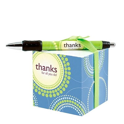 Baudville® Sticky Note Cube W/ Pen Set, Thanks for All You Do!