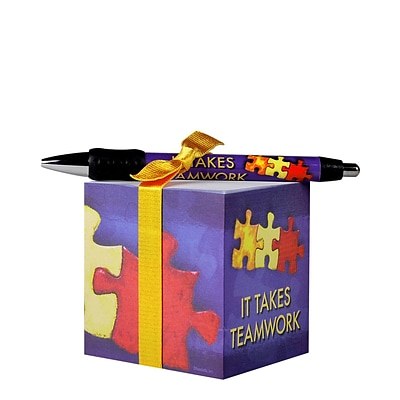 Baudville® Sticky Note Cube W/ Pen Set, It Takes Teamwork