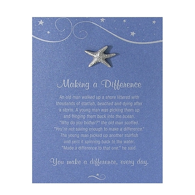 Baudville® Character Pin W/ Card, Starfish: Making a Difference - Blue Card