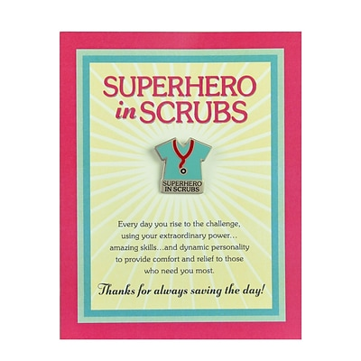 Baudville® Character Pin W/ Card, Superhero in Scrubs