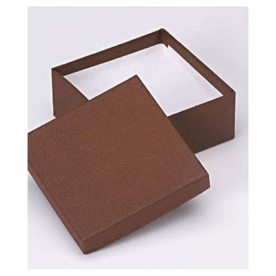 Bags & Bows® 3 1/2 x 3 1/2 x 1 1/2 Jewelry Boxes, Cocoa, 100/Pack