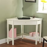 TMS Wood Corner Computer Desk, Antique White