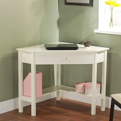 TMS Wood Corner Computer Desk, Antique White