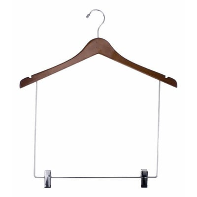 NAHANCO 17 Wood Concave Display Hanger With 10 Drop, Chrome Hook, Walnut, 12/Pack