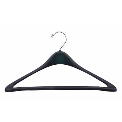 NAHANCO 17 Plastic Concave Suit Hanger With Round Hook, Black, 100/Pack