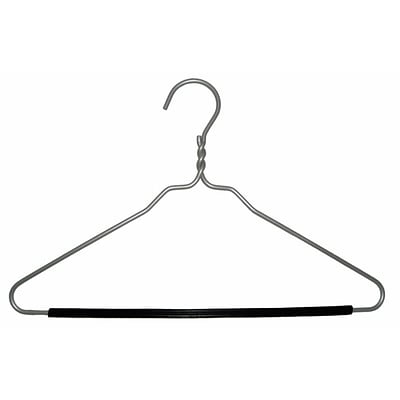 NAHANCO 16 1/2 Brushed Aluminum Hanger, Black, 100/Pack