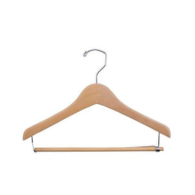 NAHANCO 14 Wood Concave Wood Suit Hanger, Chrome Hook, Natural Waxed, 100/Pack