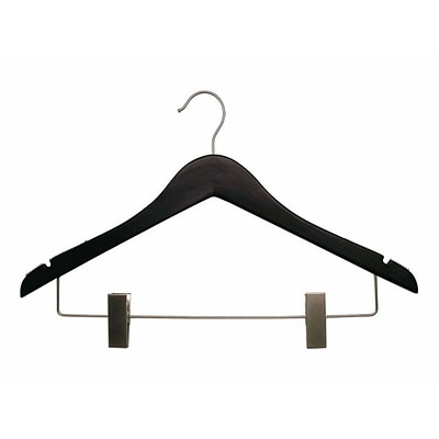 NAHANCO 17 Wood Flat Suit Hanger With Clips, Chrome Hook, Low Gloss Black, 100/Pack