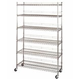 NAHANCO Heavy Duty Utility Rack With 6 Shelves and Casters, Chrome
