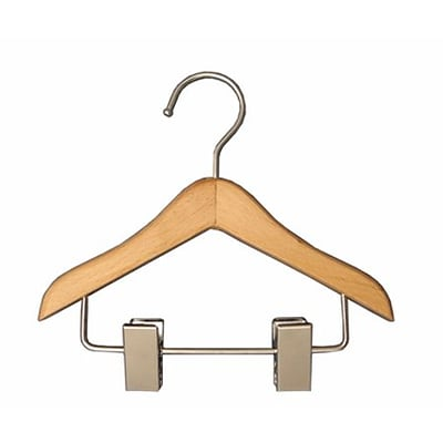 NAHANCO 6 Wood Mini Hanger With Clips, Chrome Hook, 100/Pack
