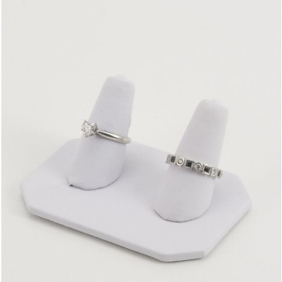 NAHANCO 3 x 2 x 2 1/4 Leatherette Double Finger Ring Display, White