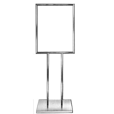 Econoco BH23 22 x 14 Bulletin Sign Holder with Extra Heavy Raised Base, Metal, Chrome