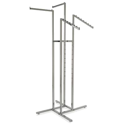 Econoco Square Tubing 4-Way Rack With 2 Straight and 2 Slant Arms