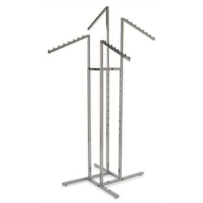 Econoco Square Tubing 4-Way Rack With Slant Arms, Chrome