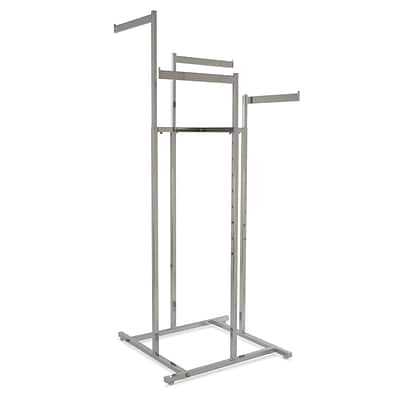 Econoco Square Tubing 4-Way Space Saver Rack With Straight Blade Arms, Chrome