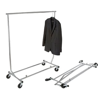 Econoco 48 Round Tubing Heavy Duty Collapsible Garment Rack, Chrome