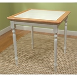 TMS Tile Top 29 1/2 x 29 1/2 x 29 1/2 Rubberwood Table; White/Natural