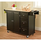 TMS Sundance Wood Kitchen Cart; Black